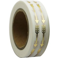 Beautiful gold foil arrows adorn a semi transparent white background. There are 3 different patterns on the feathers. This tape is lovely and will be perfect to decorate cards, scrapbooks, journals an