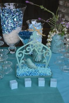 Blue, Burlap & Birds - Baby Shower Candy Table