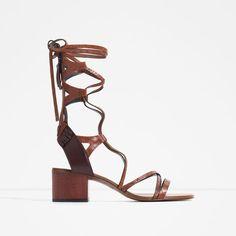 Image 1 of LACE-UP LEATHER SANDALS from Zara