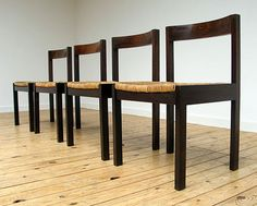 4 Martin Visser Dinning chairs in Wenge wood for Spectrum. Modern online gallery. Featuring a varied selection of vintage furniture and architect furniture. At http://www.furniture-love.com/vintage/furniture/