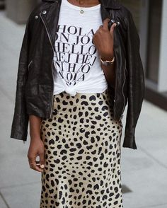 Leopard print skirt and leather jacket Printed Skirt Outfit, Leopard Skirt Outfit, Leopard Print Outfits, Leopard Print Skirt, Printed Skirts, Leopard Clothes, Leopard Jacket, Animal Print Skirt, Leopard Fashion