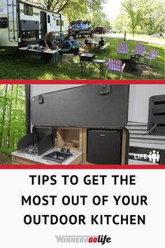 Are you looking for great ideas on how to make use of your rv outdoor kitchen? Here are tips and tricks on how to achieve the best outdoor cooking experience while out exploring. From what equipment you need, useful gadgets, and fuel sources, and many more useful tools. These practical outdoor cooking solutions will make your next road trip more enjoyable. #WinnebagoLife #OutdoorKitchen #RVLife #OutdoorCooking Tent Camping, Camping Hacks, Camping Ideas, Glamping, Travel Trailer Accessories, Rv Accessories, Kitchen Accessories, Diy Outdoor Kitchen, Outdoor Cooking