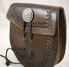 """Sporran Style Belt Pouch -- Brown 6"""" x 7"""" with a 1.5"""" gusseted side panel. $65"""