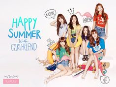 """Rookie girl group GFriend posed in bright summer style in a photo shoot for fashion magazine OhBoy! Under the theme """"Happy Summer with Girlfriend!, the six members showcased different summer styles from sporty to lovely."""