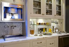 Show House Shows Few Signs of Bleak Economy - Exquisite Air Charter - N. Show House Shows Few Signs of Bleak Economy coffee area in kitchen - Modern Kitchen Furniture, Kitchen Design, Kitchen Decor, Modern Kitchen, Built In Coffee Maker, House, Kitchen, Coffee Bars In Kitchen, Coffee Area