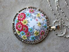 Polymer Clay Pretty Floral Applique Pendant by charancreations