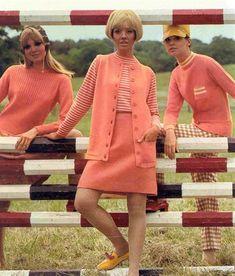 Collen Corby Bobbie Brooks, 1967 vintage fashion style pink peach sweater knit outfit suit skirt vest shirt stripe coral models magazine 60s