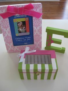 Gift Ideas | Frame, little jewelry box, and a letter (for their name or make sorority letters) very cute collection!