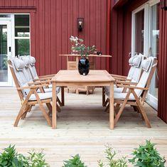 Flot og klassisk teaktræ til haven Outdoor Tables, Outdoor Decor, Teak, Outdoor Furniture Sets, Home Decor, Interior Design, Home Interior Design, Home Decoration, Decoration Home