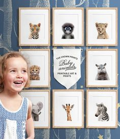 *** This listing is for a set of 8 printable designs - youll receive all 8 designs in all sizes with your purchase, via a single download link *** WOULD YOU LIKE TO CHOOSE YOUR OWN SET? Add any 8 baby animal printables to your cart and use coupon code 8BABYANIMALS at checkout for a