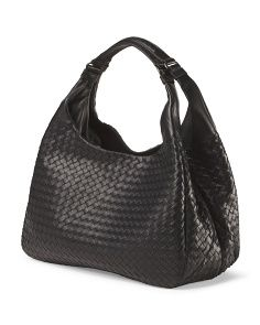 image of Made In Italy Leather Woven Shoulder Bag
