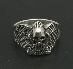 R000654 Sterling Silver Ring Solid 925 Skull Wings Biker Bones