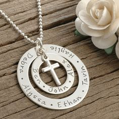 Large Family  - Personalized -  Double Washer Style Necklace - Cross Charm, Mother's day gifts, gifts for mom on Etsy, $80.00