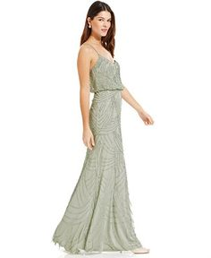 Adrianna Papell Sleeveless Beaded Blouson Gown - Dresses - Women - Macy's