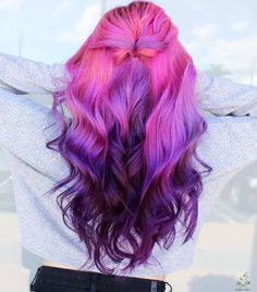 Purple Hair Black Girl, Bright Purple Hair, Pink Ombre Hair, Bright Hair Colors, Fall Hair Colors, Hair Color Purple, Cool Hair Color, Colorful Hair, Vivid Colors