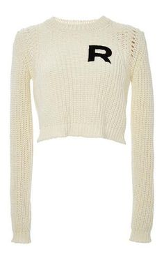 R logo crop top long sleeve knit sweater by ROCHAS Now Available on Moda Operandi