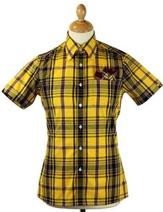 BRUTUS TRIMFIT for Dr Martens Mod Tartan Check Shirt in a striking yellow/oxblood colour way. Limited Edition and available at Atom Retro now: http://www.atomretro.com/product_info.cfm?product_id=12783