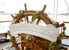 Ship wheel with a banner + garland