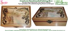 This is a stunningly beautiful fishing box hand made by aldwarke made from American white oak with meranti accents, and a Baltic pint lid suitable for p. Hand Made Fishing BoxWith Pyrograph Lid Fishing Box, Pyrography, Wood Burning, Handmade Crafts, Decorative Boxes, Deviantart, Artwork, Cards, Work Of Art