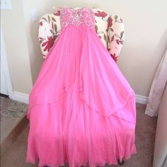 Bicici Prom Dress 100% polyester chiffon, beading, sleeveless, strapless. Sister only used it once for prom night. Excellent condition. Dresses Strapless