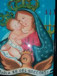Pittura su Vetro Madonna del Soccorso cm 18x13 (repro) Per info: pincisanti@hotmail.com