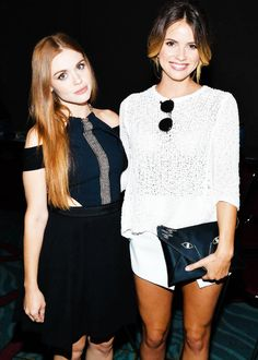 Holland Roden and Shelley Hennig pose backstage at the 'Teen Wolf' panel during Comic-Con International 2014 at the San Diego Convention Center on July 24, 2014.