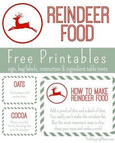 Reindeer Food Free Printables