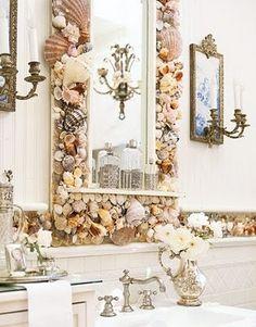 Seashell Bathroom Backsplash and Mirror, for my imaginary beach house