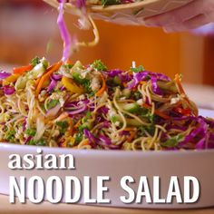 The Pioneer Woman preps a flavorful Asian Noodle Salad with plenty of fresh vegetables Drizzle it with an oyster sauce and vinegar dressing and youre ready to go in less. Vegetarian Recipes, Cooking Recipes, Healthy Recipes, Vegetarian Salad, Vegetable Salad Recipes, Avocado Salad Recipes, Vegetable Noodles, Cooking Games, Healthy Salads