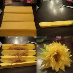Tissue paper sunflowers I made these using 4 layers of 1/4 sheet tissue, crinkle craft paper for the center and pipe cleaner to tie. Easy Pease and endless variations of colors...have fun!