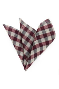 Wine Red and Tan Gingham Pocket Square in Wool and Linen - Handmade for Bows-N-Ties new winter pocket square collection