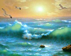 """Gouden zonsondergang - Paletmes olieverfschilderij op doek door Dmitry, zee kunst. Zeedijk kunst zee wand decor, home decor van zee. grootte - 36 """"x 28"""""""