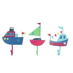 Decorate your little sailor's bedroom with these fun boat coat hooks.
