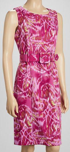 Fuchsia Ikat Belted Sleeveless Dress