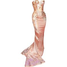 Versace - edited by Satinee ❤ liked on Polyvore featuring dresses, gowns, long dresses, vestidos, versace evening dresses, versace dress, versace and versace evening gowns