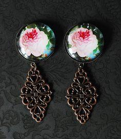 "Beautiful English Rose Girly Dangle Plugs - 3/4"" 7/8"", 1"" - Pick Your Size on Etsy, $24.99"