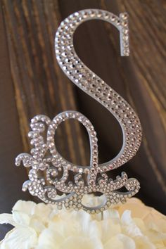 Gorgeous Hollywood Glam Crystal Monogram Wedding Cake Topper