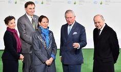 Britain's Prince Charles (C) with French energy minister, Segolene Royal (3-L), and French foreign minister Laurent Fabius (R) arrive for the opening of the climate change summit