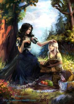 Ciri learning with Yennefer (art by Nikivaszi)