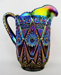 """""""Diamond Lace"""" ... by Imperial Dazzling Electric Purple Carnival Glass Pitcher 