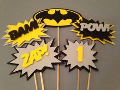 Batman Centerpiece 5 pc Superhero party by InspiredbyLilyMarie