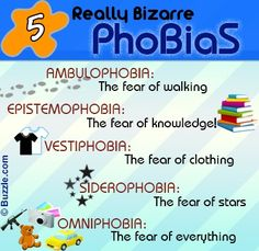 List of Phobias List Of Phobias, Weird Phobias, Weird Fears, Fear Of Everything, Learn Meaning, Anxiety Awareness, Unusual Facts, Haha So True, Psychology Facts
