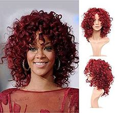 Royalvirgin Fashion Rihanna Style Synthetic Wig Peluca Charming Full Cap Hair Wigs Short Kinky Curly Red Wigs Synthetic Hair Wig for Women Big Wavy Hair, Red Wigs, Rihanna Style, Makeup Transformation, Synthetic Wigs, Wig Hairstyles, Kinky, Curly Hair Styles, Hair Cuts