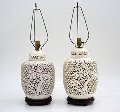 pair of pierced blanc de chine lidded ginger jar lamps vintage 1930u0027s - Ginger Jar Lamps
