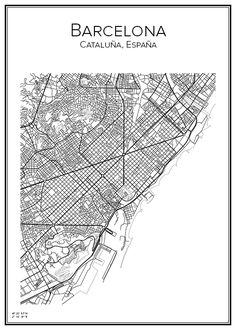 Handritad stadskarta över Barcelona i Spanien. Här kan du beställa stadskarta över din stad och andra svenska samt utländska städer.