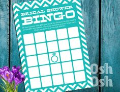 BINGO  Bridal Shower Game  Bridal Shower Bingo by OshOshStudio, $5.00 Bachelor Party Games, Bridal Shower Bingo, Party Invitations, Free Printables, Hands, Weddings, Handmade Gifts, Etsy, Decor