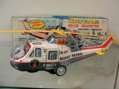 1960S JAPAN T.P.S. POLICE FLYING HELICOPTER TIN BATTERY OPERATED TOY + BOX