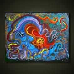 Celestial Sun Art   ... Celestial, Moon) - Acrylics on Canvas, in Celestial Art - Sun and Moon