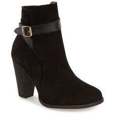 Dune London 'Quill' Buckle Bootie (Women) ($48) ❤ liked on Polyvore featuring shoes, boots, ankle booties, ankle boots, black suede, black ankle booties, black ankle boots, black suede boots, black buckle booties i black boots
