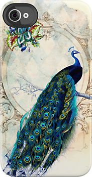 Vintage Peacock iPhone Case, Redbubble.com